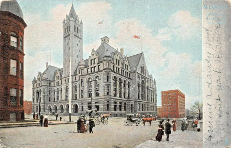 MILWAUKEE WISCONSIN~GOVERNMENT BUILDING & POST OFFICE-TUCK PUBL 1907 POSTCARD