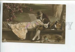 436185 BORZOI Dog & Lovers in Garden Vintage PHOTO tinted postcard