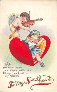VALENTINE'S DAY Love Holiday Postcard c1910 Series 78C Violin Cupid Clam 407