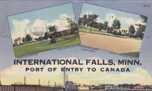 INTERNATIONAL FALLS, Minnesota, PU-1951; Municipal Building, Falls High Schoo...