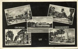 suriname, PARAMARIBO, Multiview, Waterkant- & Steenbakkerijstraat (1957) RPPC