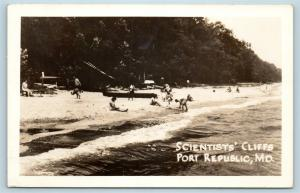 Postcard MD Port Republic Scientists Cliffs Shoreline Beach RPPC Real Photo S5