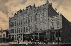 Farnum Building and Post Office, Port Jervis, N.Y., Early Postcard, Used in 1909