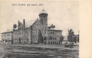 Big Rapids Michigan~Ferris Institute~Bell Tower~Building in Background~1909 B&W