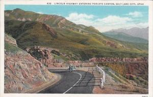 Utah Salt Lake City Lincoln Highway Entering Parleys Canyon Curteich