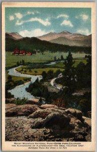 c1920s BURLINGTON ROUTE RAILROAD Advertising Postcard ESTES PARK CO RMNP Unused