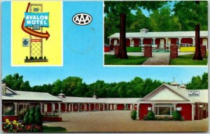 1950s POPLAR BLUFF, Missouri Postcard AVALON MOTEL Highway 60 Roadside Chrome