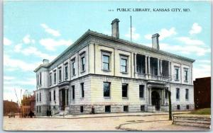 Kansas City Missouri Postcard Public Library Street View Curteich 1910s Unused