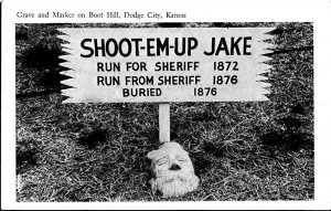 DODGE CITY Kansas ~ 1940's BOOT HILL CEMETERY ~ SHOOT EM UP JAKE IN GRAVE ~RPPC