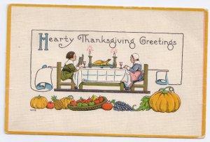 Thanksgiving Pilgrim Couple Dinner Table Vintage Embossed Bergman Postcard 1914
