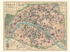 Paris Ses Monuments French Map Postcard