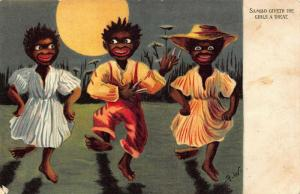 Black americana Sambo dance signed postcard