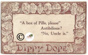 Vintage Postcard Dippy Dope A Box of Pills, please Antibilious humor funny
