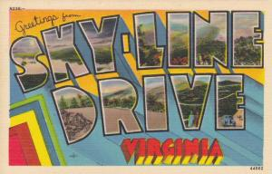 Greetings from Skyline Drive, Virginia, showing city views, 1930-40s