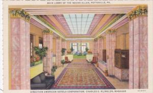 Pennsylvania Pottsville Main Lobby The Necho Allen Hotel Curteich