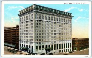 ATLANTA, Georgia  GA   HOTEL ANSLEY  Street Scene  ca 1920s   Postcard