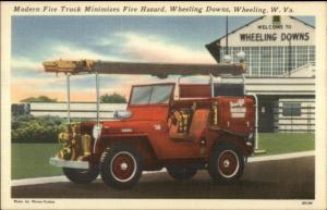 Wheeling WV Fire Truck Jeep at Wheeling Downs OUTSTANDING LINEN Postcard