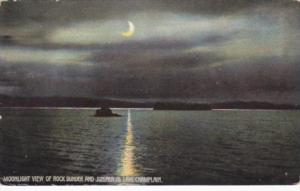 New York Lake Champlain Moonlight View Of Rock Dunder and Juniper Island 1909