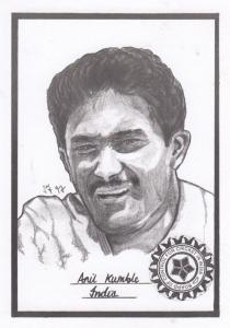 Anil Kumble Indian Cricket Artist Drawing Limited Edn of 500 Postcard
