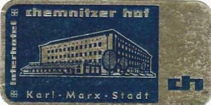 GERMANY KARL MARX STADT INTERHOTEL CHEMNITZER HOF VINTAGE LUGGAGE LABEL