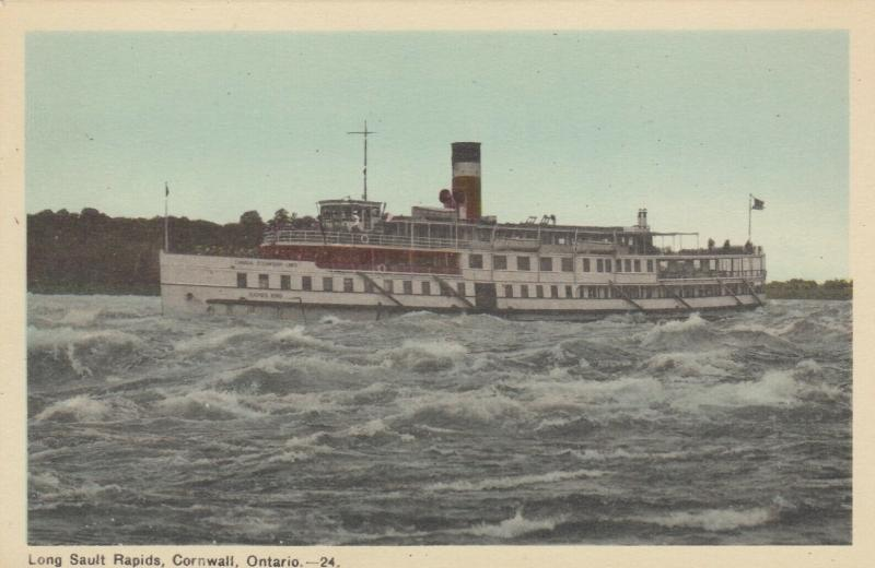 CORNWALL , Ontario , Canada , 1930s ; Steamship in Long Sault Rapids
