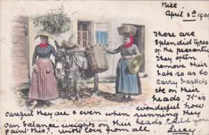 Military Types de Paysannes Local Women In Traditional Costume With Donkey 1901