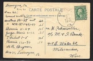 FRANCE Stamps on Postcard Embossed Shield Used c1921
