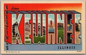 Vintage KEWANEE, Illinois Large Letter Postcard Multi-View Curteich Linen c1940s