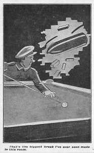 Issued by the YMCA hut Fund, Shelter for Soldiers Pool Billiards Carte Postal...