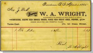 1885 Providence, RI Billhead, W. A. Wright, 40 Dean Street