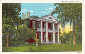 Natchez Mississippi~Arlington Mansion (Built 1816)~Potted Flowers~1932 Postcard