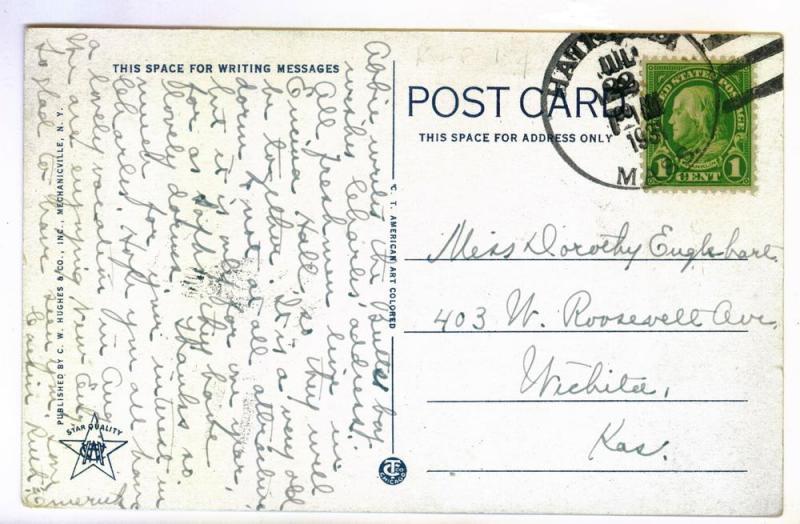Hatfield, Massachusetts to Wichita Kansas 1931 PPC Coolidge