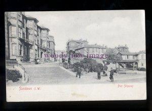 h2251 - Isle of Wight - Pier Slipway & Steps to Sandown Beach, c1904 - postcard