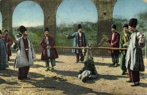 azerbaijan russia, BAKU BACOU, Punishment of a Criminal, Foot Whipping (1911)