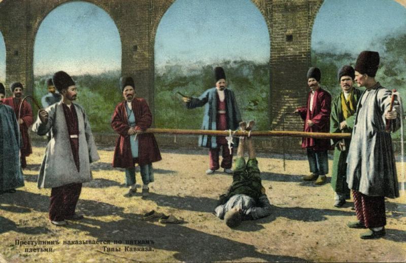 azerbaijan russia, BAKU BACOU, Punishment of a Criminal, Foot Whipping (1911)