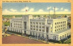 Norfolk, VA USA,  Post Office Postcard, Postoffice Post Card Old Vintage Anti...