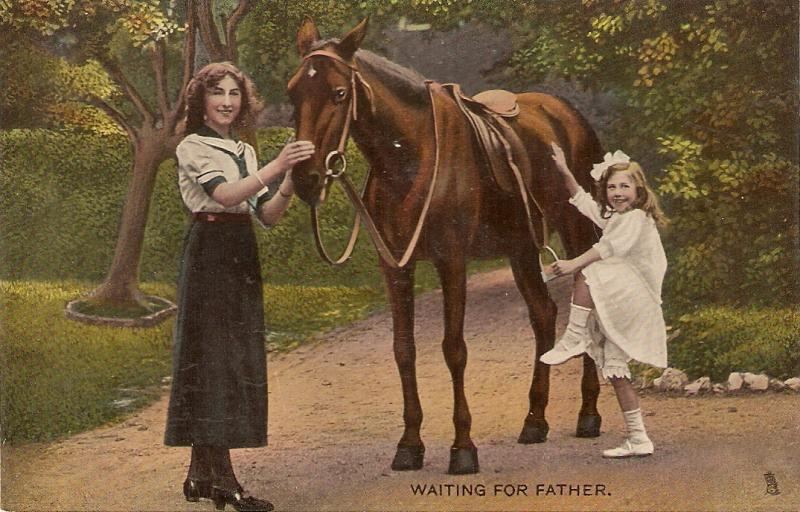 Mother and daughter with horse. Waiting forfther Tuck Rapgolette PC # 8175