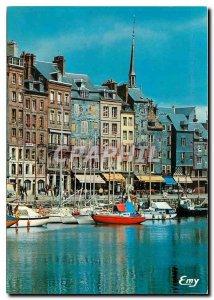 Modern Postcard Honfleur The Vieux Bassin and typical facades