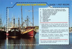 Postcard Recipe, New England Clam Chowder, Quick 1 Pot Recipe #630