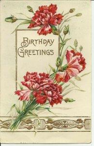 Birthday Greetings   EMBOSSED- Carte Postale