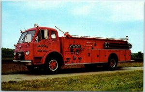 Logansport, Ind. Postcard Universal Fire Apparatus Corp. BOYER FIRE TRUCK c1950s