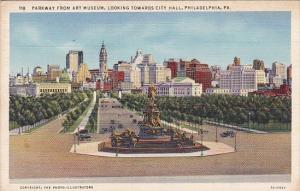 Parkway From Art Museum Looking Towards City Hall Philadelphia Pennsylvania 1944