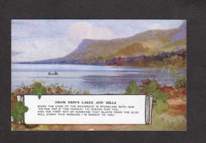 Ireland UK Lakes Hills of Erin Shamrock Valentine's Art Colour Postcard Poem