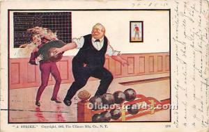 Old Vintage Bowling Postcard Post Card A Strike 1906