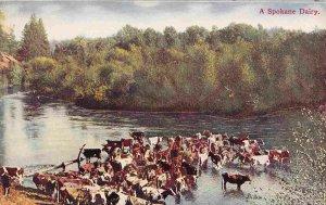 Dairy Farm Farming Cows in Water Spokane Washington 1910c postcard