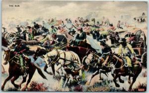 Vintage OKLAHOMA CITY Postcard THE RUN Depicting 1889 Land Rush - Linen 1943