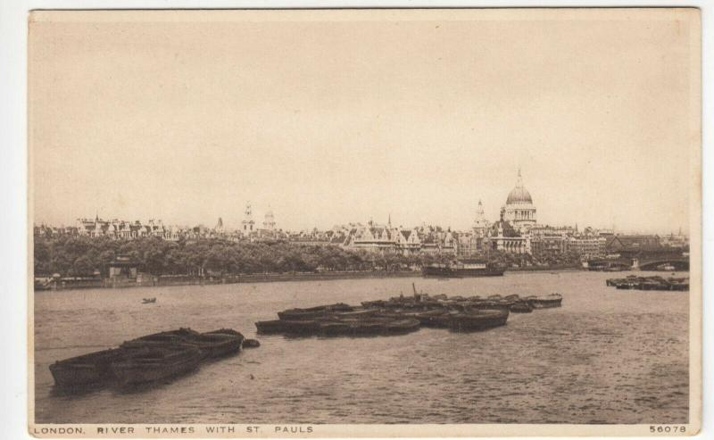London; River Thames With St Pauls 56078 PPC By Photochrom, Unposted, c 1930's