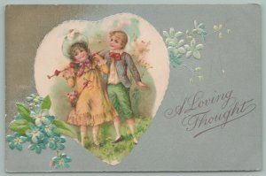 Valentine~Young Couple In Heart Window~Folded Parasol~Feathered Bonnet~1907~Emb