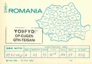 Romania Radio Amateur QSL card country map Op Eugen Teisani YO9FYD