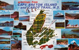 Map , Cape Breton Island & Cabot Trail , Nova Scotia , Canada , 50-60s